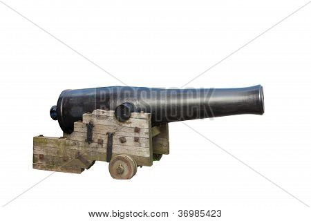 old cast-iron cannon isolated