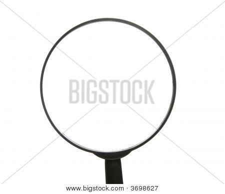 Top Of Simple Magnifying Glass Over White Background