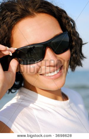 Cheerful Woman Face In Black Sunglasses