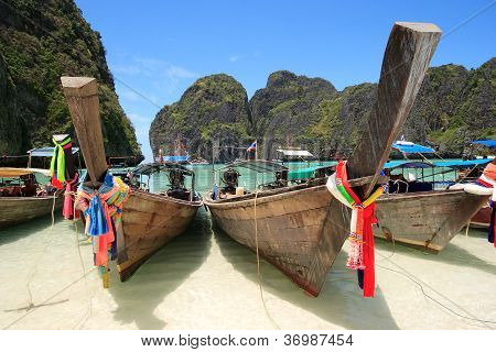 Long Tail Boat At Maya Bay, Krabi, Thailand