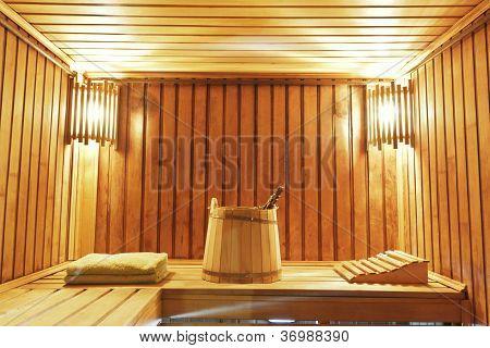 Interior Of Modern Sauna Cabin