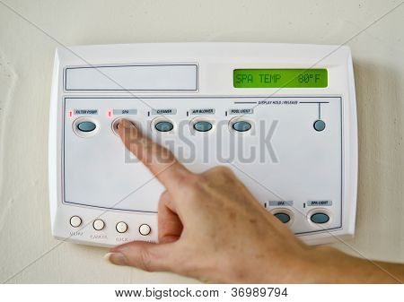 Setting swimming pool/spa control system