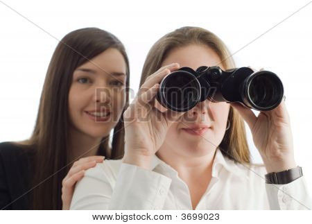 Business Women With Binoculars