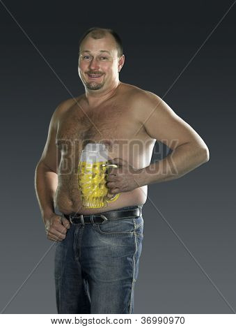 Man With Naked Beer Belly