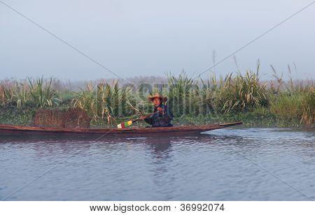 Fisherman Of Intha Tribe People, Myanmar