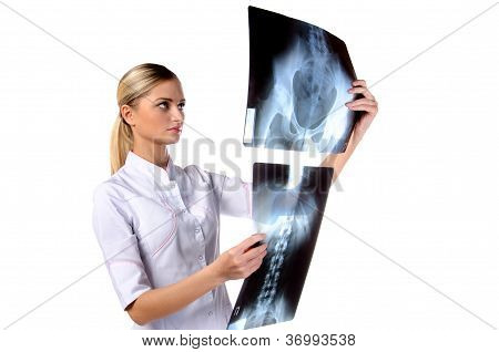 Portrait Of Girl Doctor Ecg, X-ray