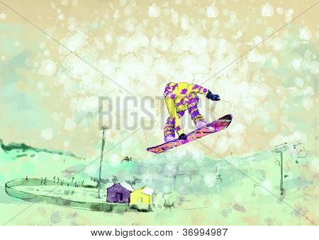 Winter sports - jumping snowboarder