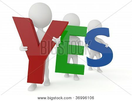 3D Humanoid Character Hold A Yes Word