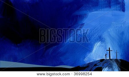 Graphic Abstract Background Calvary Cross Blue