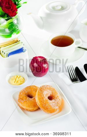 Continental breakfast with doughnut