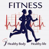 foto of cardiology  - vector illustration of male and female runners and heart rate background - JPG