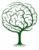 foto of psychology  - Brain tree illustration tree of knowledge medical environmental or psychological concept - JPG