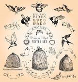 image of beehives  - Vintage style - JPG
