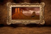 Monument Valley Panorama In A Vintage Boroque Frame poster