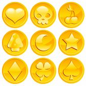 picture of coin slot  - Vector set of shiny golden game coins - JPG