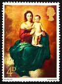 Postage Stamp Gb 1968 Madonna And Child, By Murillo