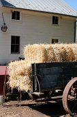 picture of hayride  - View of an old wagon stacked with hay - JPG