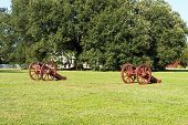 foto of revolutionary war  - Revolutionary War canons on a green field - JPG