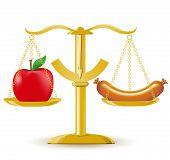 Постер, плакат: Весы выбор диеты или ожирение