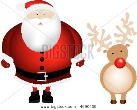 Santa and Rudolph isoliert