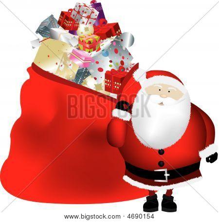 Santa And Sack Isolated