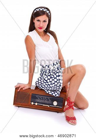 Woman On Retro Radio