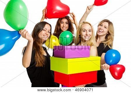 Girls Having A Party With Baloons And Boxes