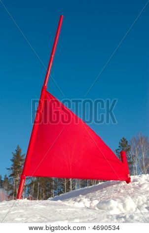 Red Flag On Ski Slope