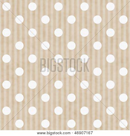 Ecru And White Polka Dot And Stripes Fabric Background
