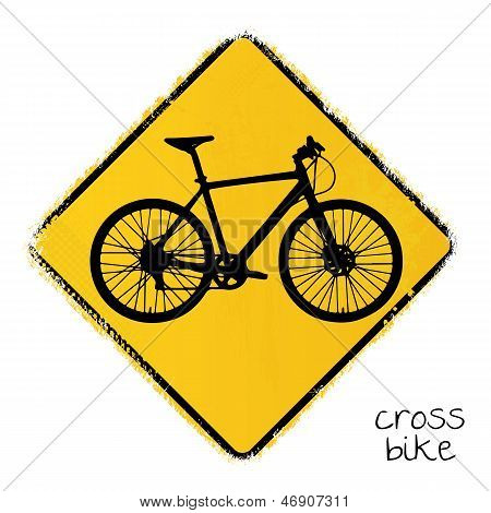 warning road sign with a cross bike