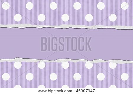 Purple Polka Dot And Striped Torn Background For Your Message Or Invitation