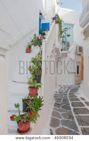 Narrow Street Of Greek Island With Stairs And Flowers.