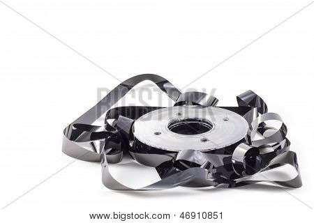 Destroyed black data tape