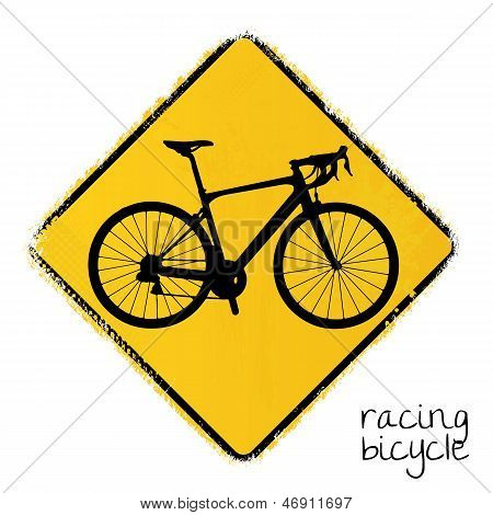 warning road sign with a racing bicycle