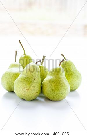 Green Pears In Window Light