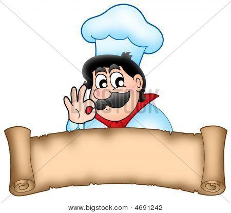 Banner con el Chef de dibujos animados Fotos stock e Imágenes ...