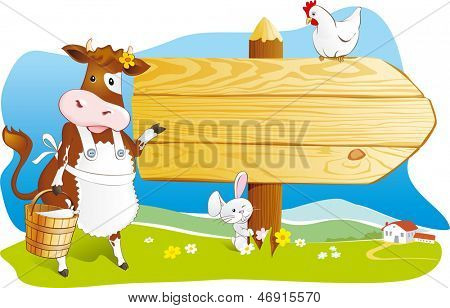 Cute cartoon cow with milk, rabbit and hen pointing wooden signboard. Space for text, countryside farm landscape. Vector illustration