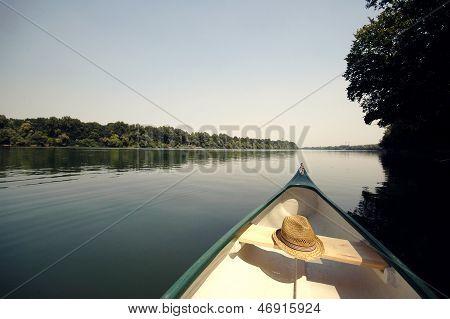 Bow Of A Canoe On The River Sava Near Belgrade , Serbia