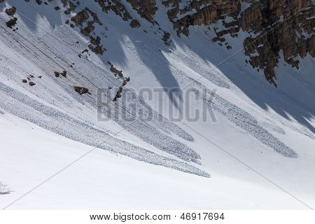 Avalanche In Mountains