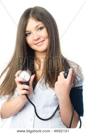 Doctor Measuring Her Blood Pressure