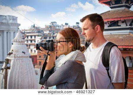 Beautiful young couple travelling in Kathmandu, Nepal.