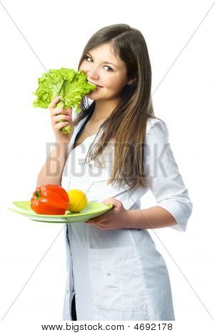 Happy Doctor With Fresh Vegetables