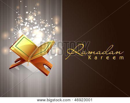 Ramadan Kareem greeting card with open islamic religious book Quran Shareef.
