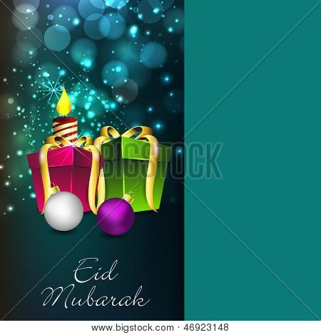 Muslim community festival Eid Mubarak greeting card or gift card with gift boxes and golden ribbon on shiny green background.