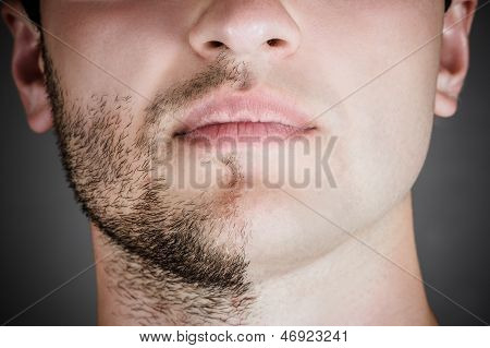 handsome man with a shaved half his face