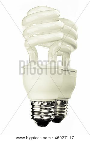 Modern Electric Bulb With Reflection Isolated On White Background