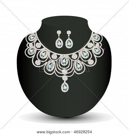 Collar y aretes mujer con blancas piedras preciosas