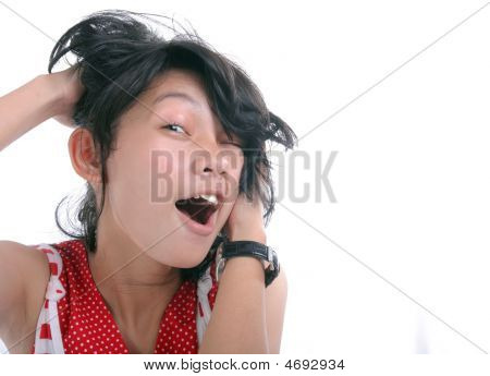 Young Woman With Messy Face And Copy Space