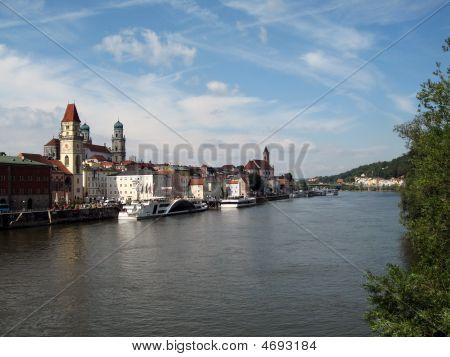 Danube River In Passau, Germany