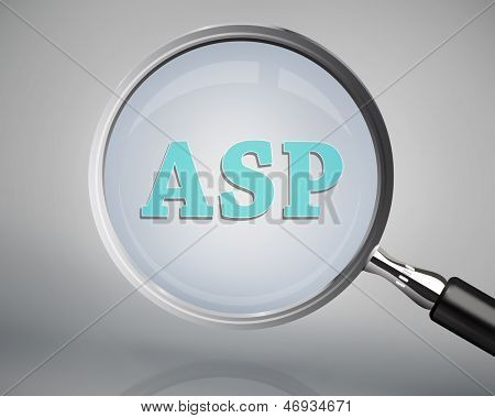 Magnifying glass showing asp word on grey background